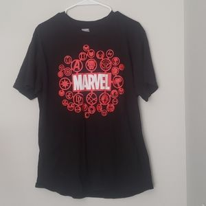 Marvel black T-shirt with Marvel characters